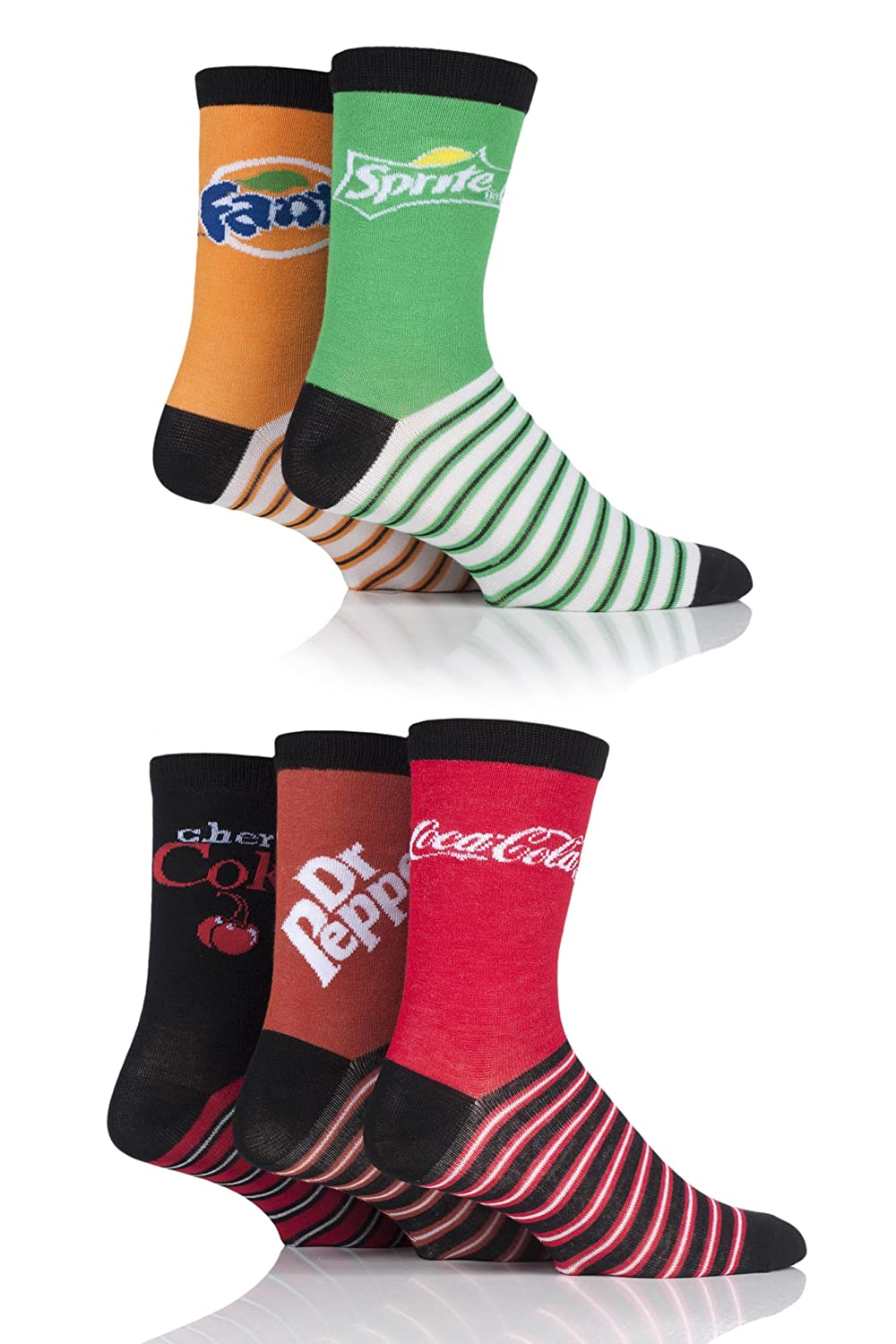 1ee2d6d7d9cb2 Mens and Ladies SockShop 5 Pair Coca Cola, Dr Pepper, Fanta, Sprite and  Cherry Coke Socks - Assorted - One Size at Amazon Men's Clothing store: