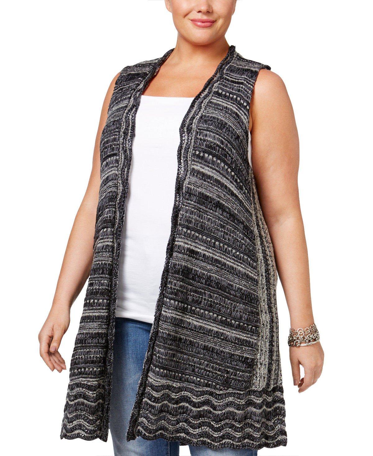 Style & Co. Womens Boucle Sweater Vest Deep Black Combo XL
