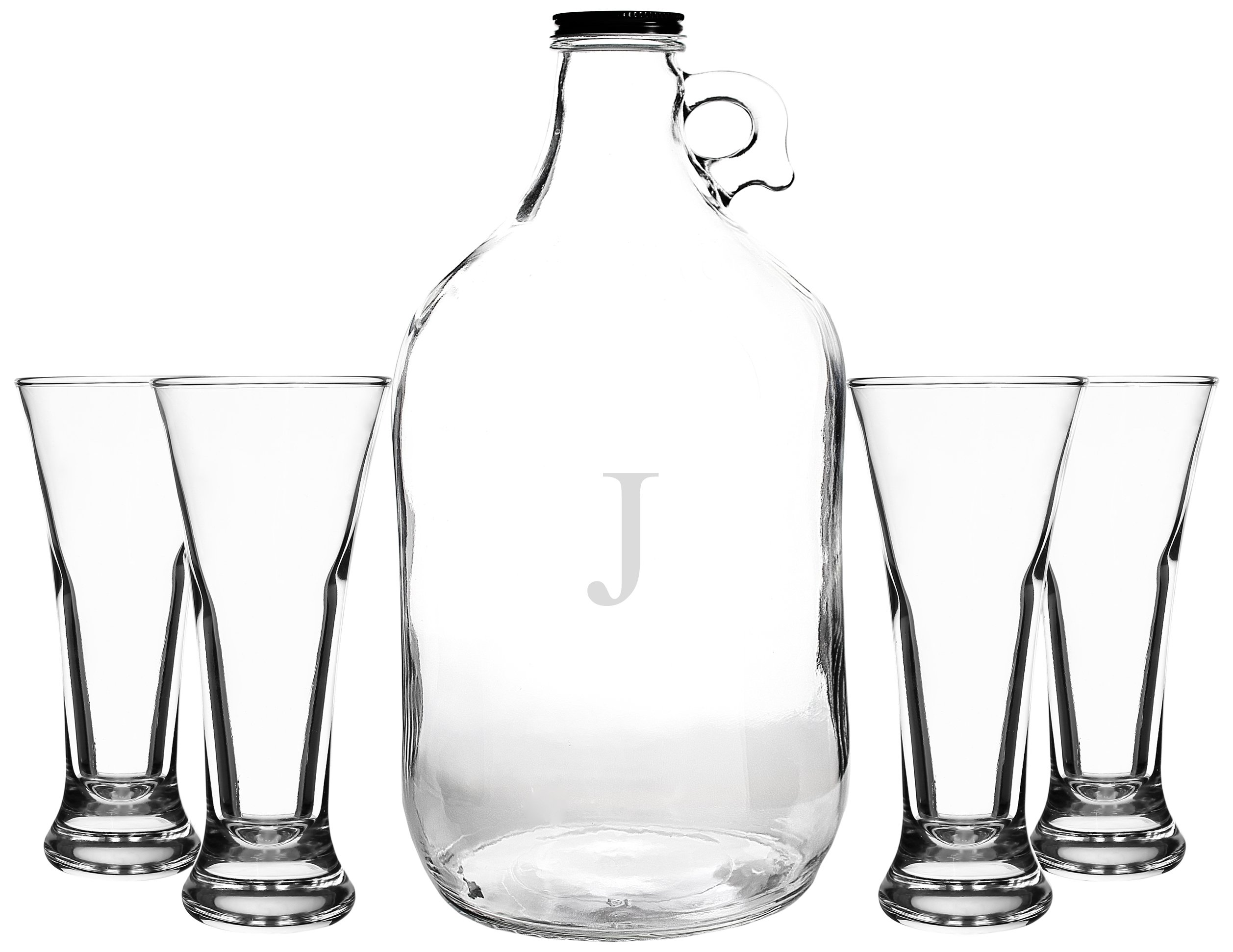 Cathy's Concepts Personalized Craft Beer Growler & Tasters Set, Letter J