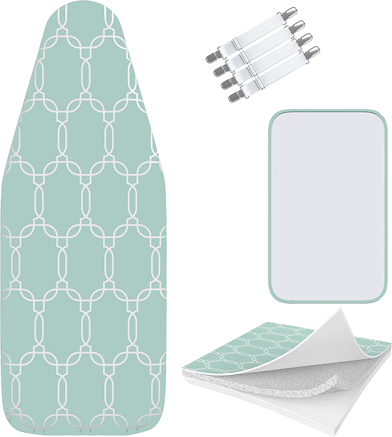 Amazon Com Balffor Silicone Wider Ironing Board Cover And Pad Scorch Proof Trifusion Iron Board Cover White Green With Bonus Adjustable Fasteners And Protective Mesh Geometric Green 18 X 49 Home