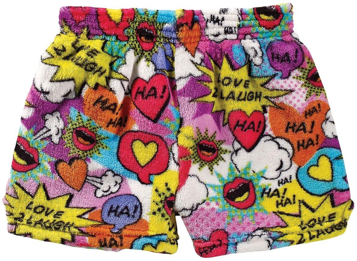 iscream Big Girls Heavyweight Plush Shorts - Love 2 Laugh, Small