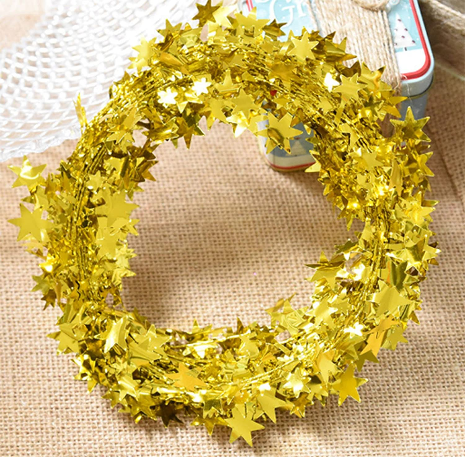 Yesier 25 FT Star Tinsel Garlands with Wire Christmas Tree Party Decoration Festive Ornament, 2 Pack (Gold)