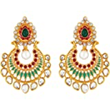 Parisha Jewells Er7090027 Kundan Red Gold-Plated Artificial Pearl Dangler Earrings For Women