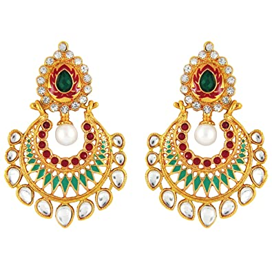 Buy Parisha Jewells Er7090027 Kundan Red Gold Plated Artificial