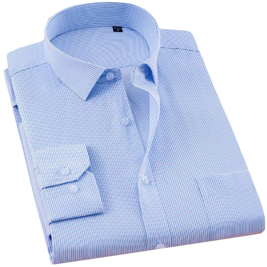 RSunshine Mens Long Sleeve Business Pure Color Button Down Office Work Shirts