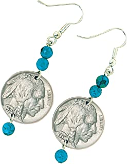 product image for Buffalo Nickel Turquoise Coin Earrings Coin Jewelry