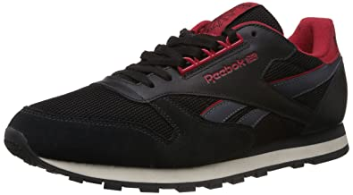 c7deff75039 Image Unavailable. Image not available for. Colour  Reebok Classics Men s  Cl Leather Retro LP Black and Red Leather Sneakers ...