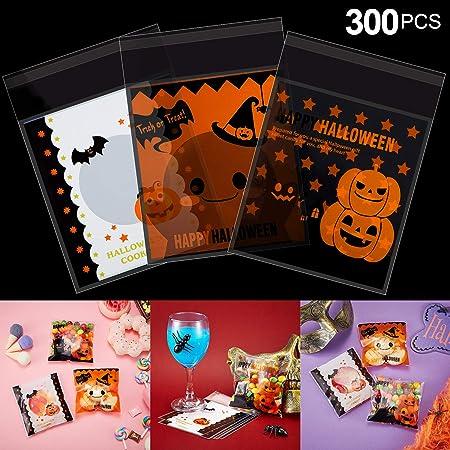Obtendrá: 300 piezas Las bolsas de Halloween vienen con 3 estilos diferentes, cada estilo tiene 100