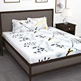 Story@Home Floral Leaf Print Combed Cotton Elegant Luxury Designer Bedding Set Combo 1 PC Queen / Double Bed Graceful bedsheet with 2 Pillow Covers - White and Blue