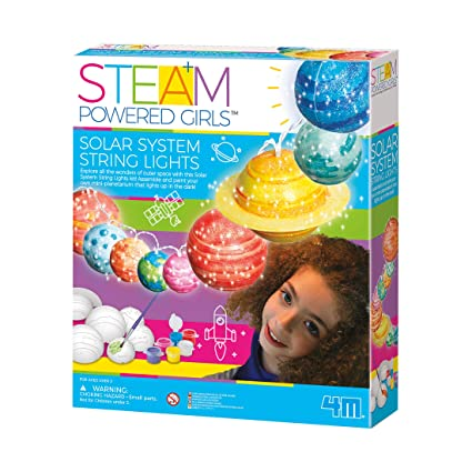 4M 3825 Steam Powered Girls Solar System String Lights Toy, White
