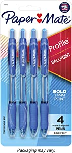Paper Mate Profile Retractable Ballpoint Pen, Bold Point, Translucent Barrel, Blue Ink, 4 Count