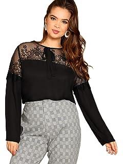 DIDK Damen T-Shirt Bluse mit Spitzen Knoten Schleife vorne Oberteil Tops
