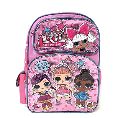 "Large LOL 16"" WE GOT THE MOVES! Pink Shiny Girls' School Backpack A16305 