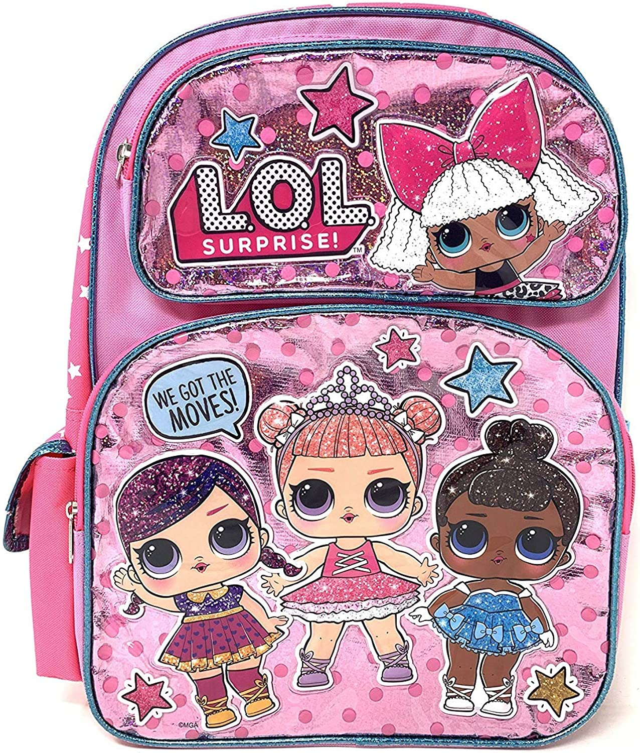 """Large LOL 16"""" WE GOT THE MOVES! Pink Shiny Girls' School Backpack A16305"""