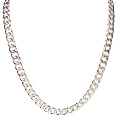 width mens sterling silver curb solid cuban chain jewellery link