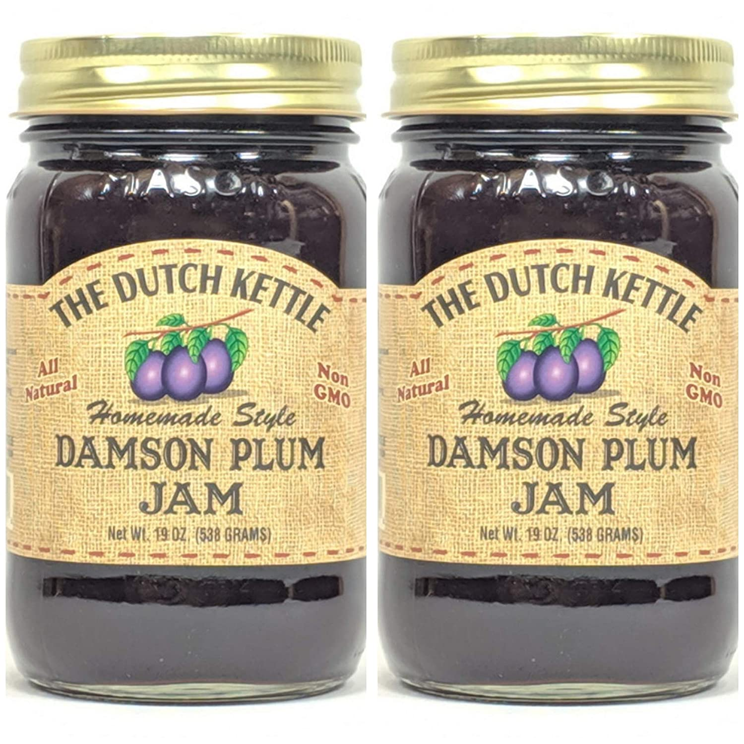 The Dutch Kettle Amish Homemade Style Damson Plum Jam 2 - 19 Oz. Jars All Natural Non-GMO No Preservatives