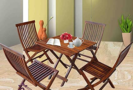 Js Home Décor Sheesham Wood Dining Set Buck Folding Chairs and Square Table for Linving Room | Set of 5, Brown