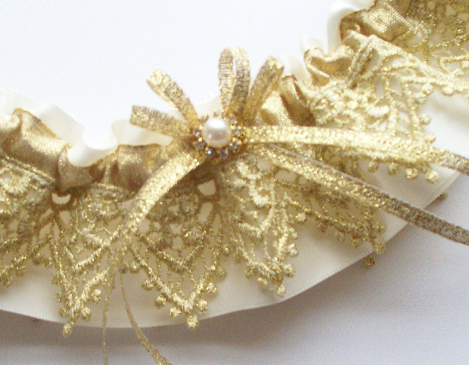 Gold Wedding Garter of Gold Lace, Ribbon, and Rhinestone/Pearl Center AND SATIN Band TOSS