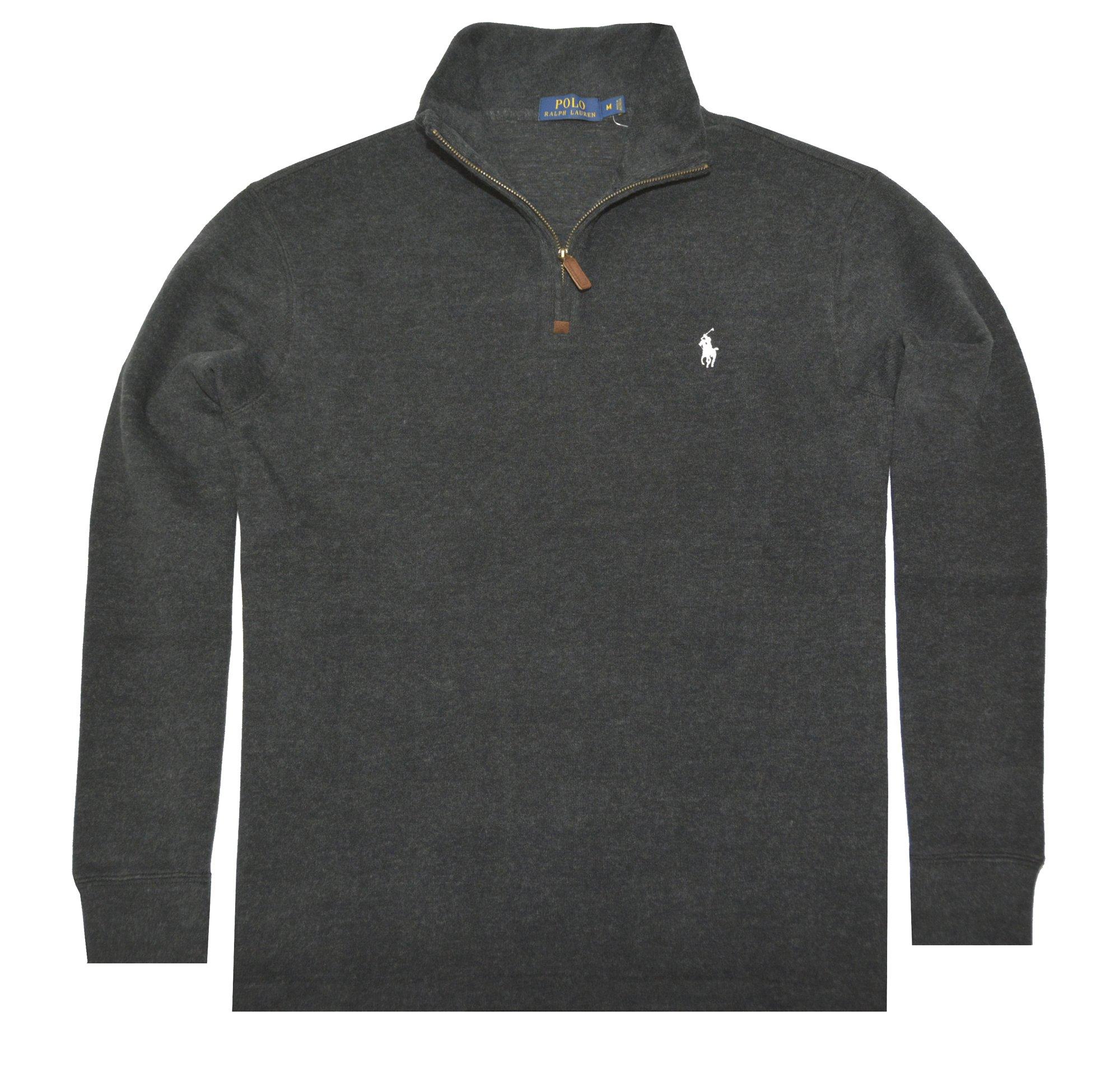 Polo Ralph Lauren Mens Half Zip French Rib Cotton Sweater (Black White Pony, Medium)