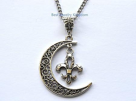 Perfect Birthday Gift Birthstone Medallion Necklace Diamond Fleur De Lis Necklace 925 Silver Lily Flower Necklace Fleur De Lis Necklace