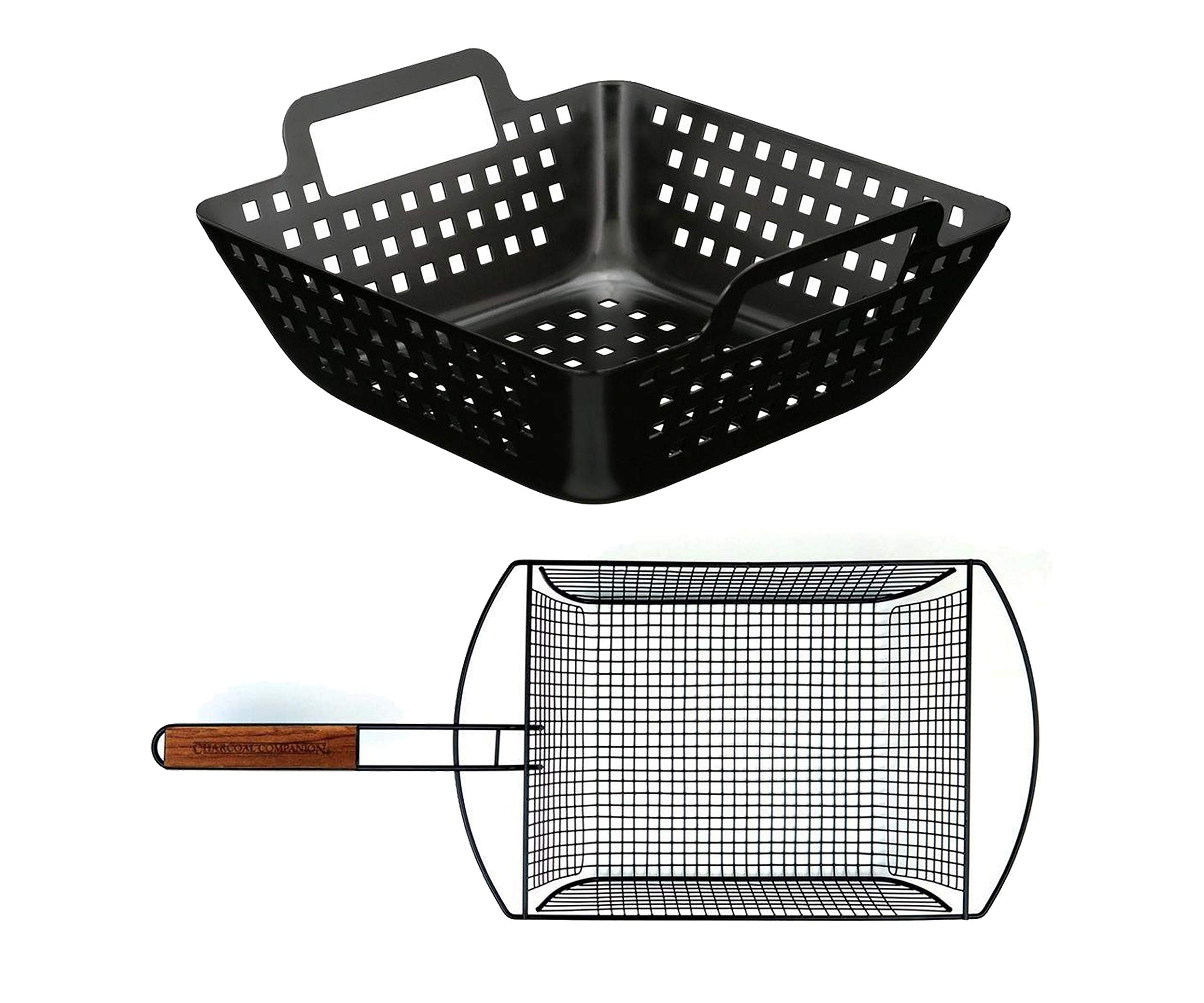 La Rosticceria Charcoal Companion Non-Stick Shaker Basket with Removable Handle Bundle with Non-Stick Small Square Wok by La Rosticceria