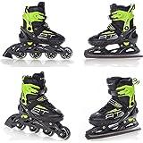 2b0a79e108d Raven 2in1 Schlittschuhe Inline Skates Inliner Profession Black/Green  verstellbar