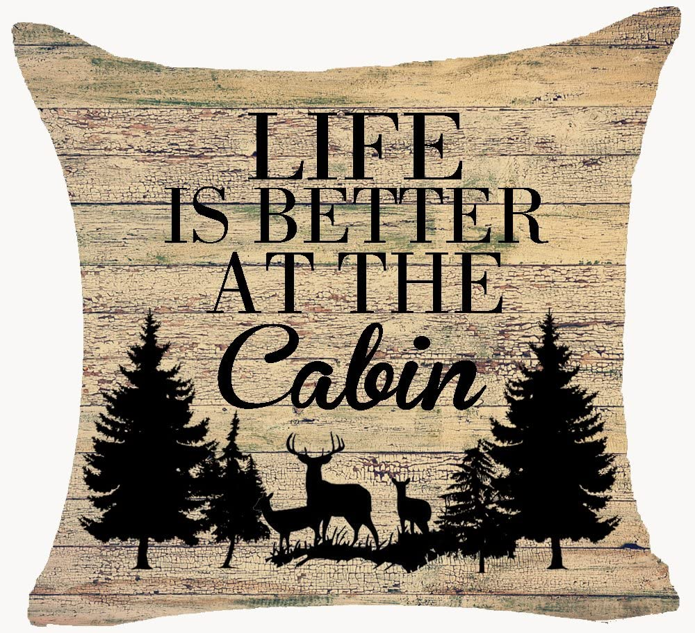 Retro Vintage Wood Grain Background Wildlife Deer Pine Forest Life is Better at The Cabin Cotton Linen Throw Pillowcase Personalized Cushion Cover New Home Office Decorative Square 18 X 18 Inches¡­