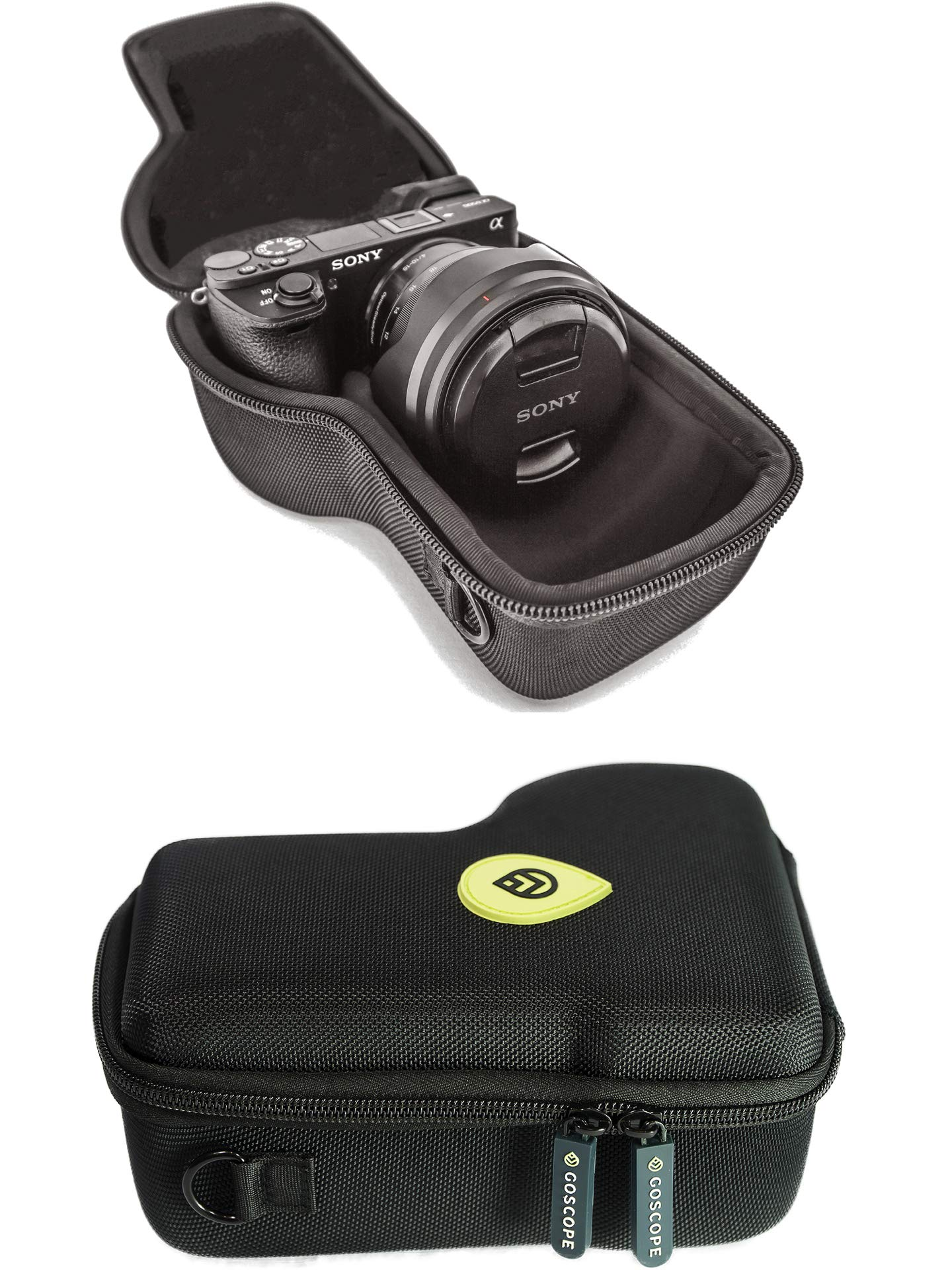 GoScope Alpha GO CASE {MICBERGSMA Edition} Compact Hard case Compatible with Sony Alpha a6000, a6300, a6400, a6500 Camera Body w/Lens Sizes 10mm-105mm [ Hard Camera case ] FITS Camera & Lens