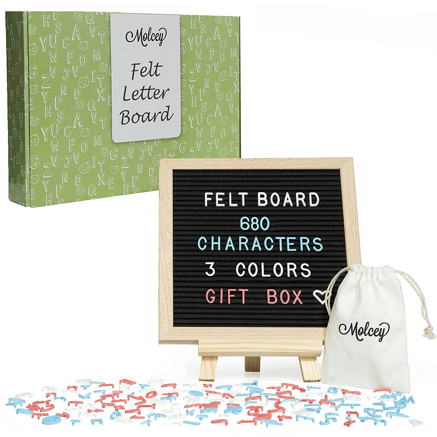 Black Felt Letter Board - Changeable Sign for Messages, Quotes & Baby Announcement Board | 10x10 Inch Oak Frame | 680 Characters - Letters, Emojis, White, Blue, Pink | Letter Boards with Stand