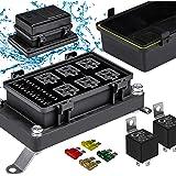 12V Auto Waterproof Fuse Relay Box Block Kit [6 Bosch Style Relay Holder] [6 ATC/ATO Fuse Holder] [Relays & Fuses…