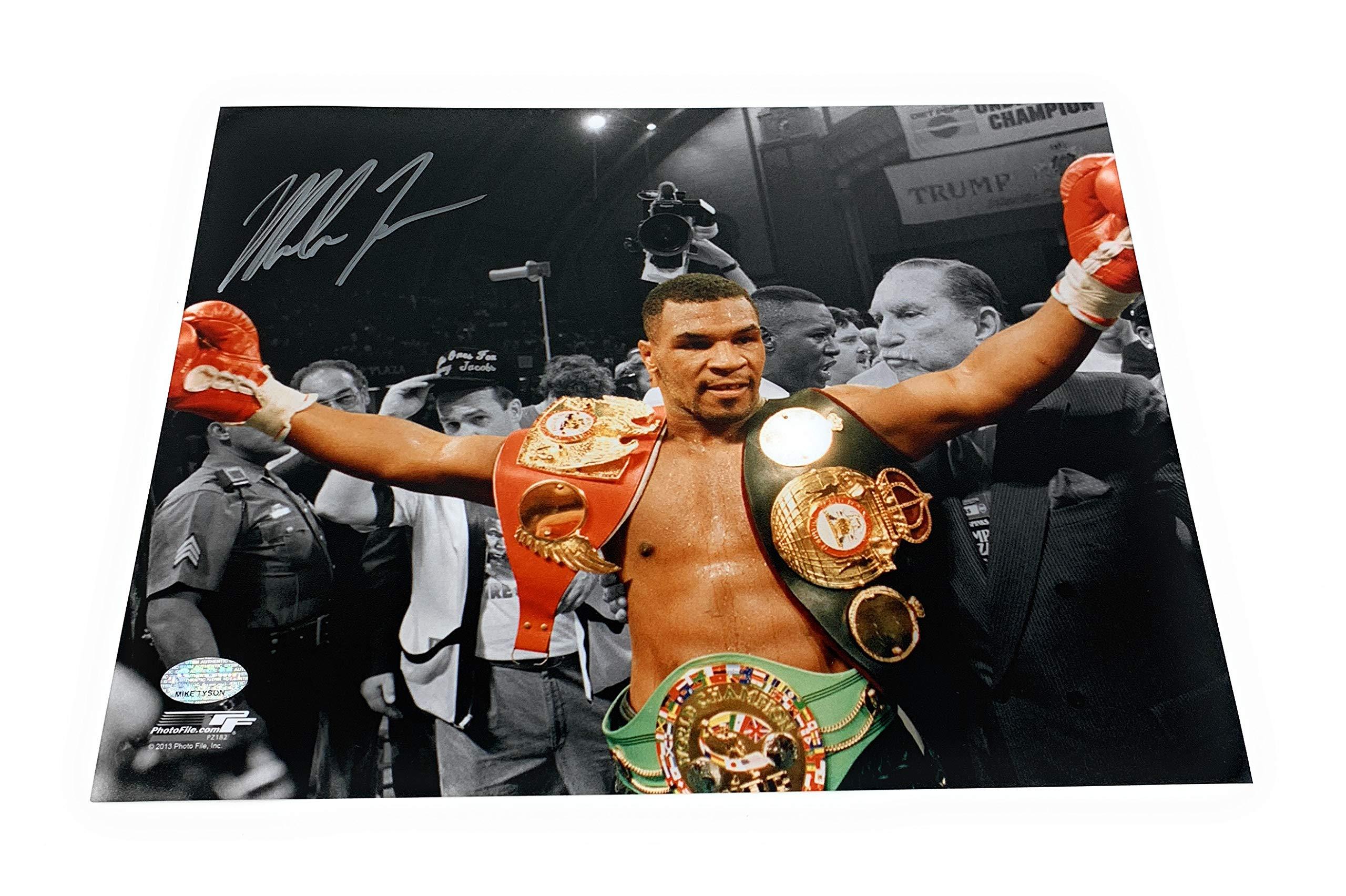 Mike Tyson Boxing Signed Autograph 8x10 Photo Photograph Belts GTSM Tyson Hologram Certified