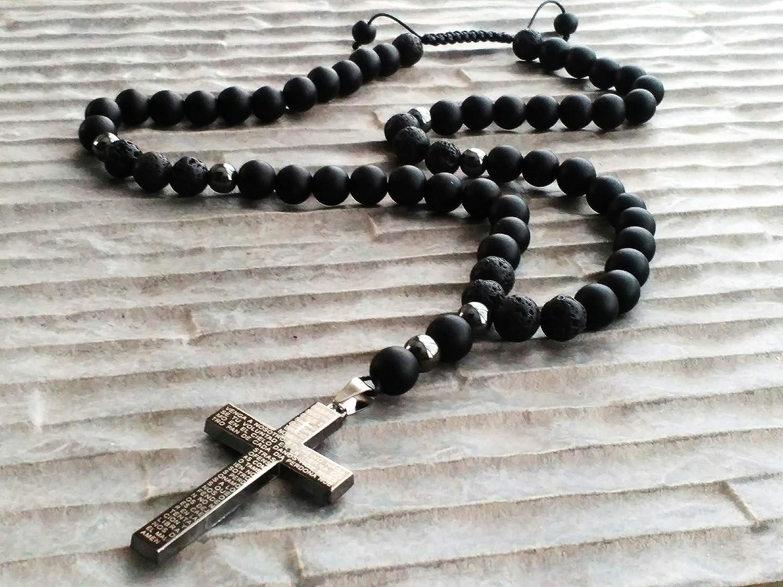 Hombre Collar Hematita Ónice Cuentas de lava orata cruz de piedras preciosas Collar rosario
