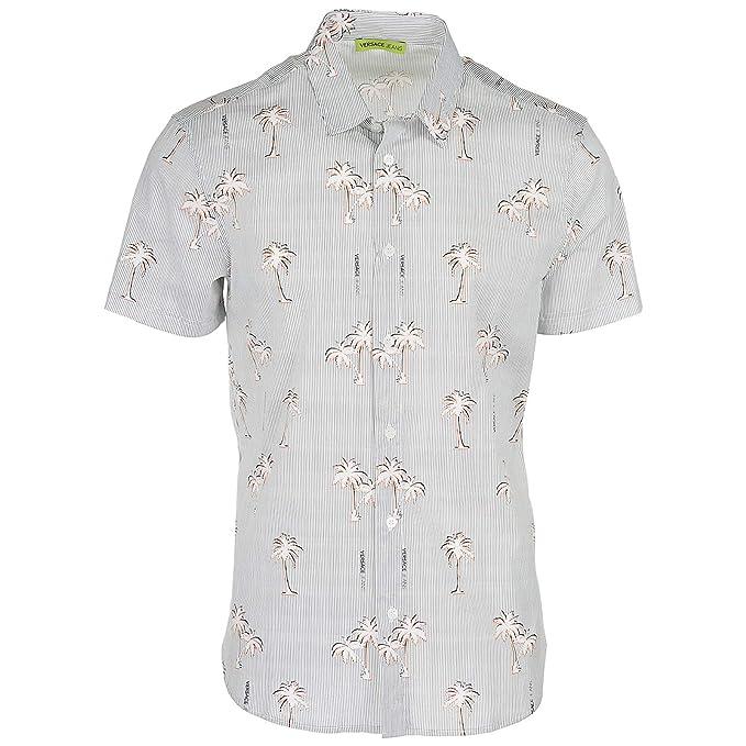 Versace Jeans Camisa de Mangas Cortas Hombre Bianco 48 EU: Amazon.es: Ropa y accesorios