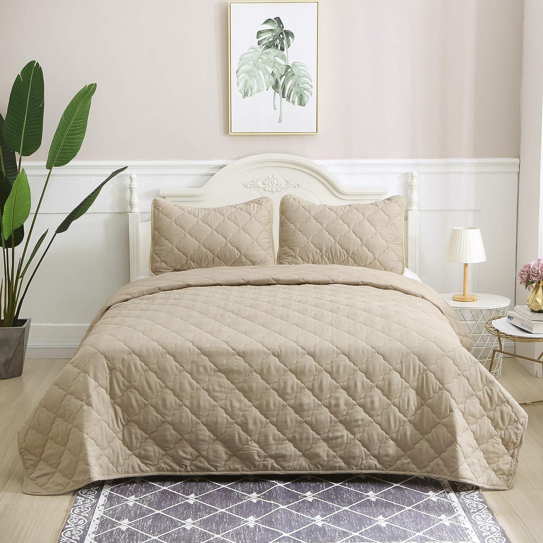ALPHA HOME 3-Piece Diamond Bedspread Set King Size Bed Quilt Set Summer Blanket, Camel, Includes 1 Quilt, 2 Shams
