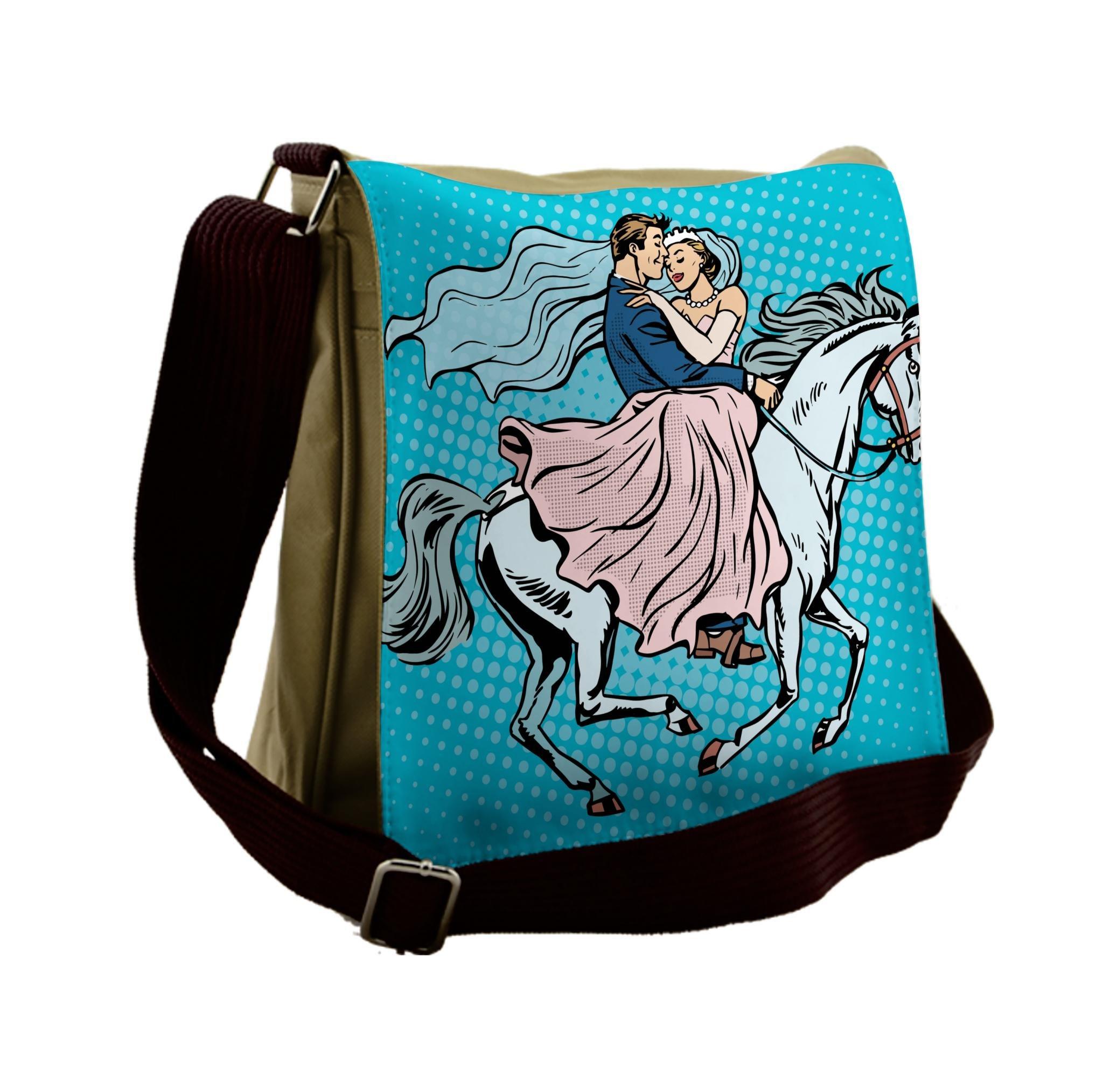 Lunarable Wedding Messenger Bag, Married Couple on Horse, Unisex Cross-body