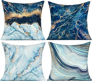 VAKADO Navy Blue Throw Pillow Covers Velvet Gold Marble Home Decorative Shells Sea Soft Cushion Decor Cases 18X18 Set of 4 for Sofa Bedroom,Couch Decoration