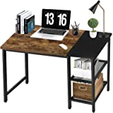 40 Inch Desk with Storage Shelves Rustic Home Office Student Computer Desk for Bedroom,Dorm Study PC Laptop Work Writing Tabl