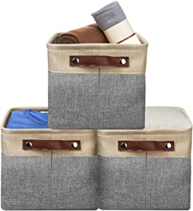 Awekris Foldable Storage Bins Storage Basket Set [3-Pack] Fabric Collapsible Organizer Cubes with Handles for Organizing Shelf Nursery Home Closet and Office (Beige)