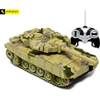 Zest 4 Toyz Remote Control Army Battle Tank 360 Rotating Turret with Light & Sound for Kids in Assorted Colors