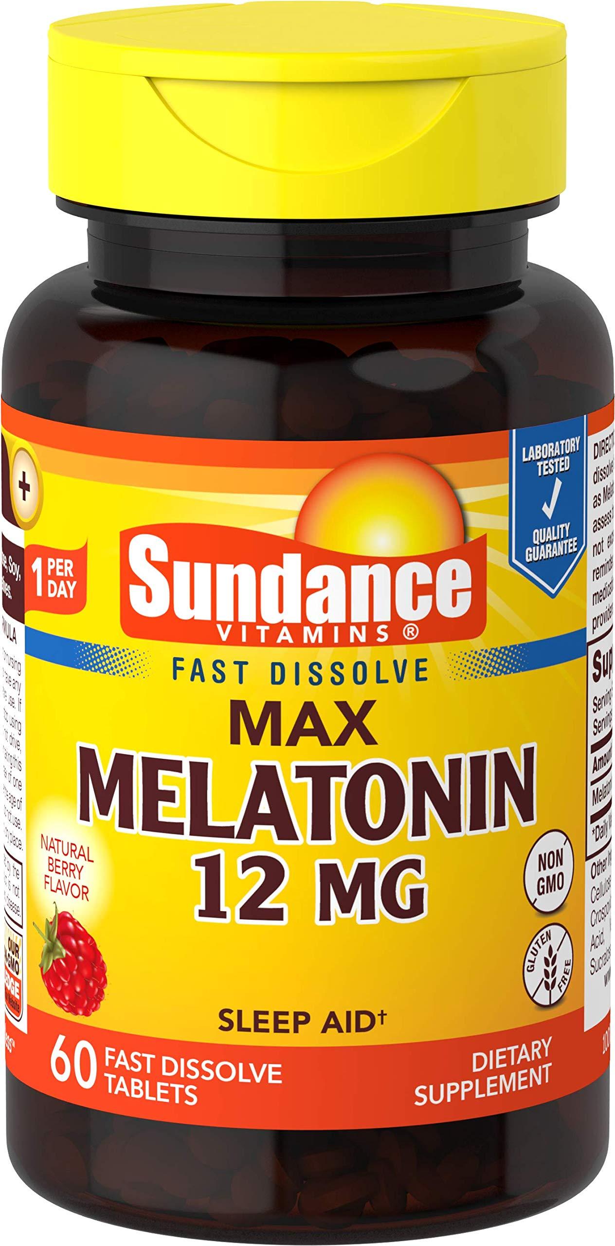 Sundance 12 Mg Melatonin Tablets, 60 Count