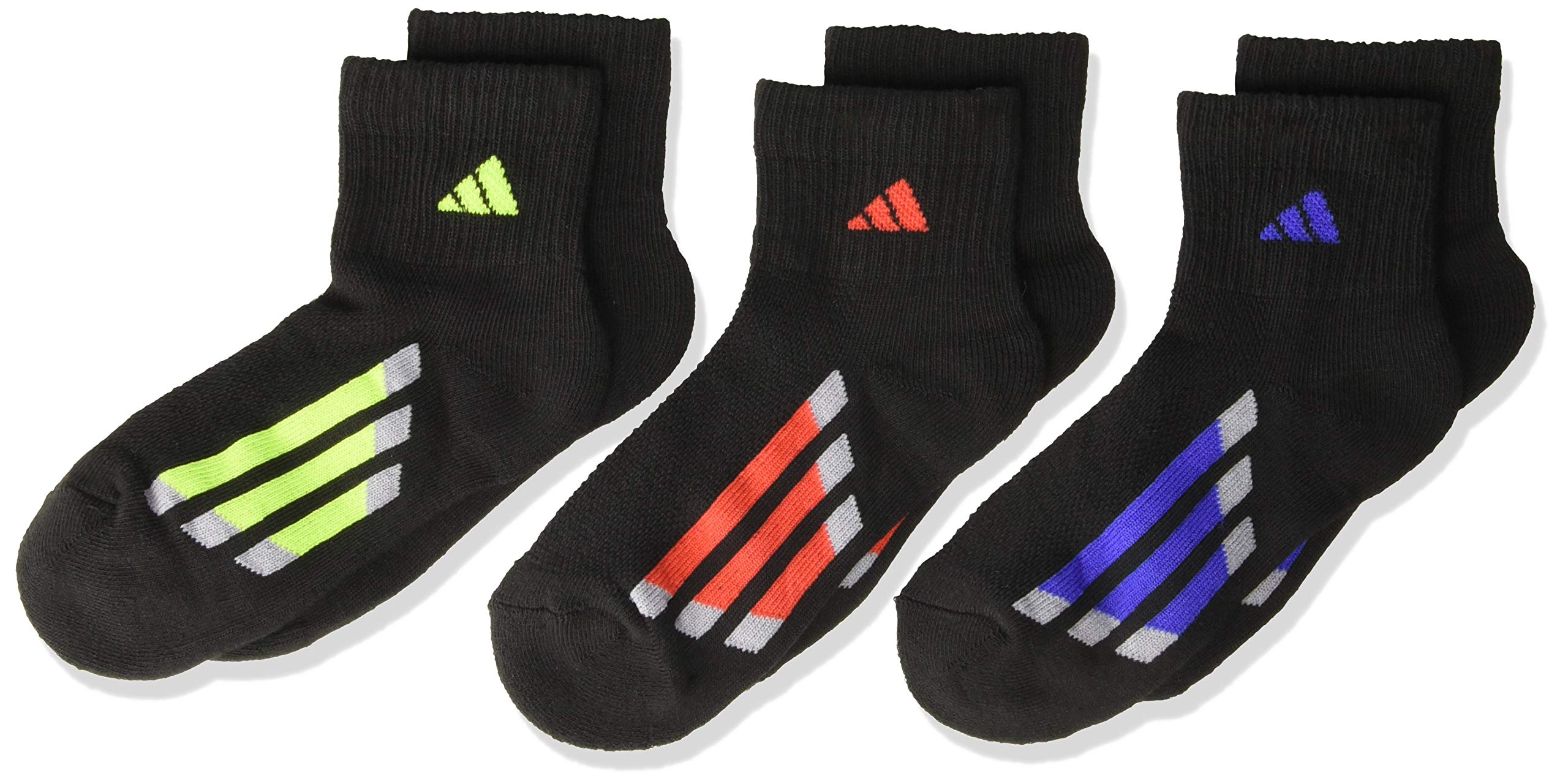 adidas Kids' - Boys/Girls Cushioned Quarter Socks (6-Pair), Black/Active Blue/Light Onix Black/Active Red, 3Y-9