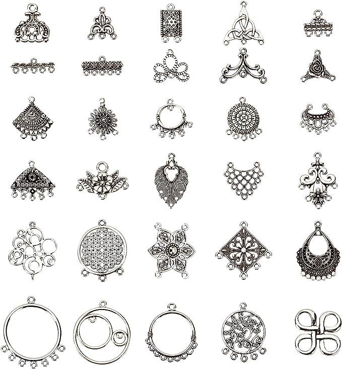 4pcs Antique Silver Tone Multi Hole Hoop Chandelier Dangling Earrings Charms Pendant Connector 35mm x 38mm
