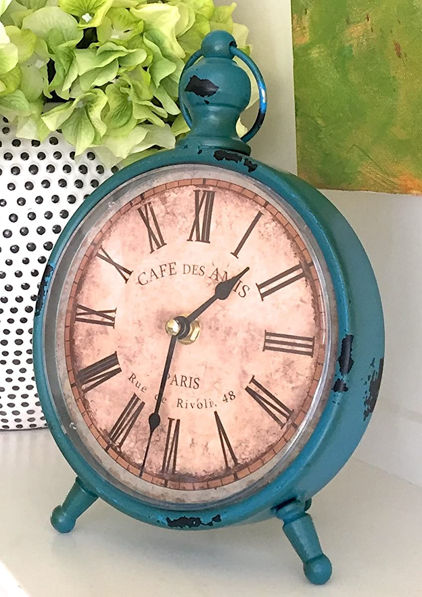 """Decorative Clock, Over-Sized Table and Desk 9"""" x 6"""", Vintage Distressed Metal For Antique, French Country, Shabby Chic and Farmhouse Decor"""