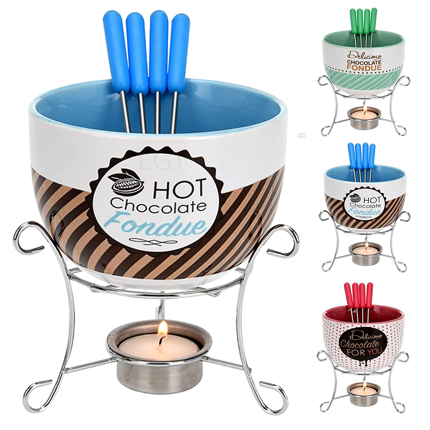 Ceramic Chocolate or Cheese Fondue Set - with 4 Stainless Steel Skewers (Blue) EG Homeware