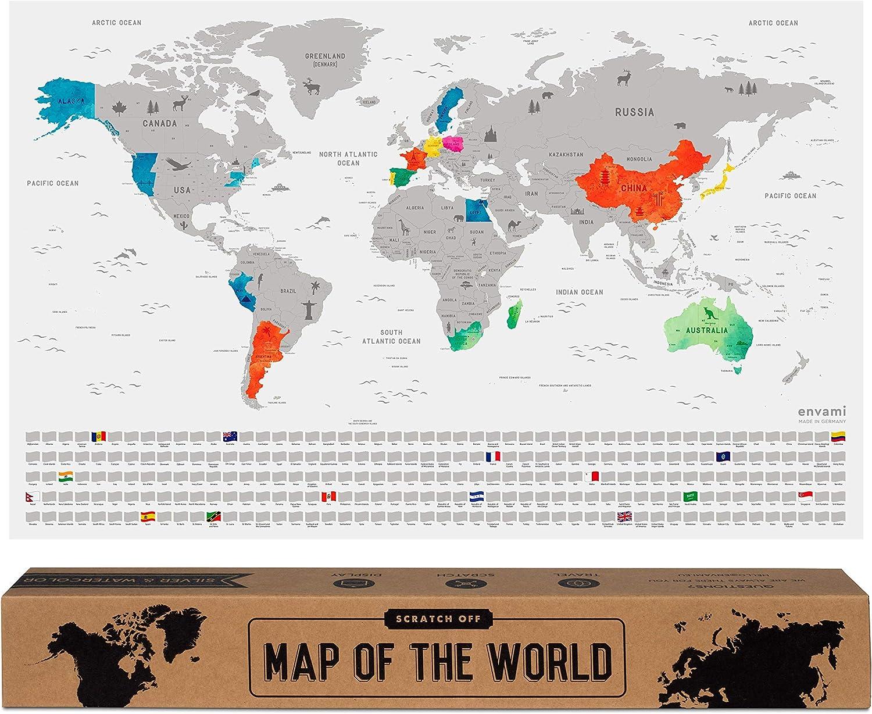 envami Mapa Mundi Rascar I Mapas del Mundo para Marcar Viajes I 68 X 43 CM I Plata I Scratch Off Travel Map: Amazon.es: Hogar