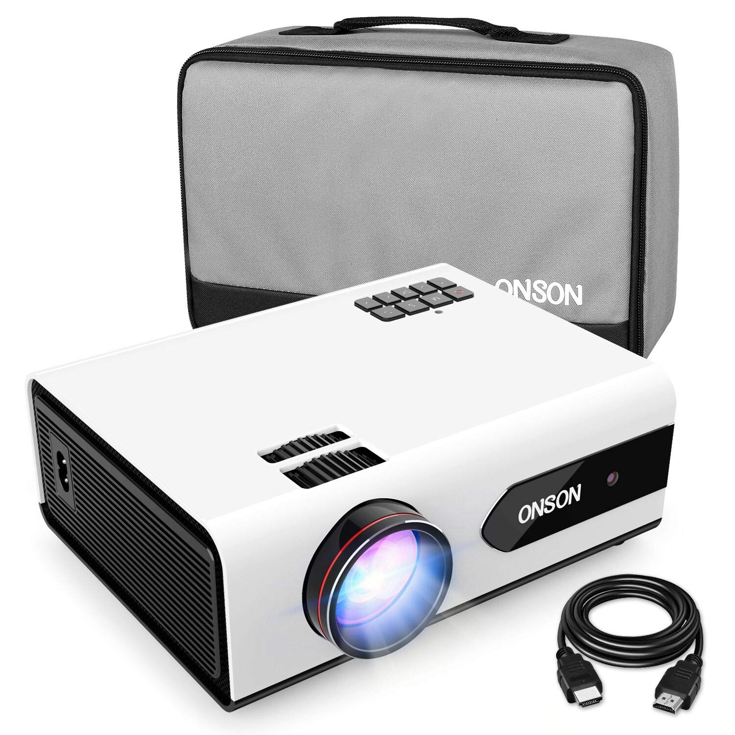 ONSON [2019 Upgrade] Mini Projector, 2800 Lux Portable Movie Projector with 50,000 Hours LED Lamp Life, Full HD 1080P Video Supported, Compatible with TV Stick, PS4, HDMI, VGA, TF/SD Card, AV and USB by ONSON
