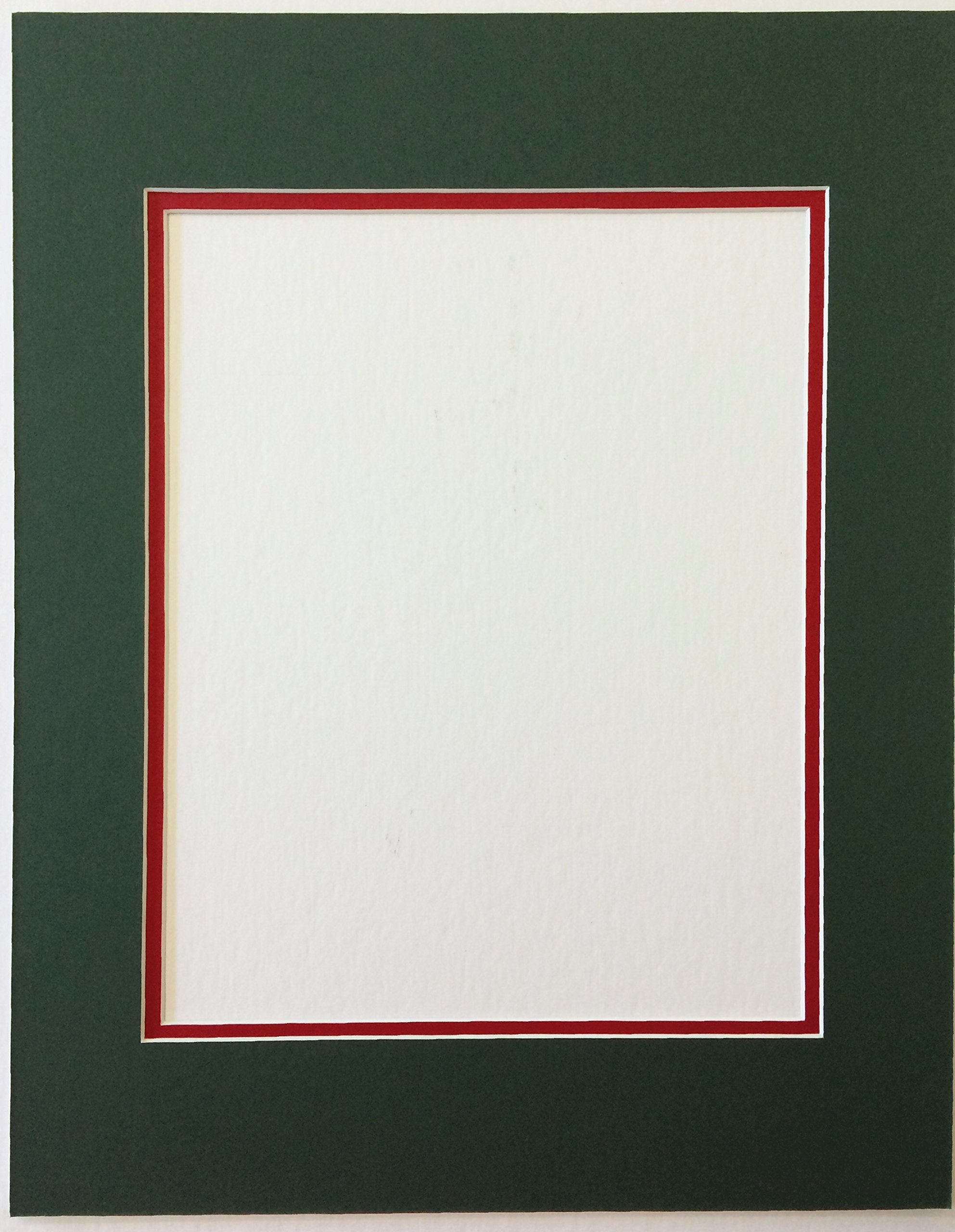 Pack of 5 11x14 Green and Bright Red Double Picture Mats Cut for 8x10 Pictures by bux1 picture matting