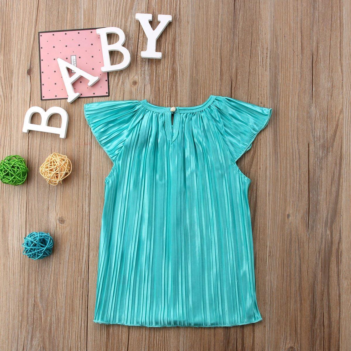 Binwwede Baby Girl Pleated Skirt Loose Sleeve Elastic Neckline Straight Dress