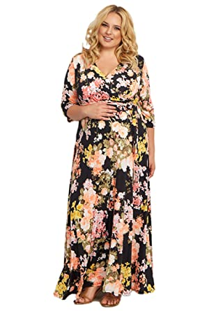 d0f70cd75d7 PinkBlush Maternity Black Floral Sash Tie Plus Size Maternity Nursing Maxi  Dres