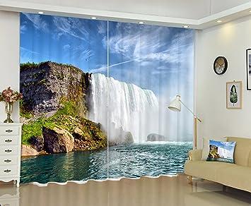 LB 2 Panels Room Darkening Blackout CurtainsSpectacular Waterfall Scenery 3D Effect Print Window Treatment
